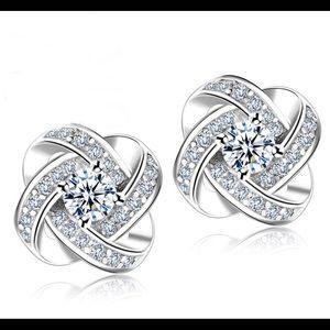 Genuine 925 Silver Knot Flower Stud Earrings